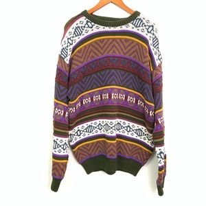 Vintage Aztec Heavy Knit Pullover Sweater Size L